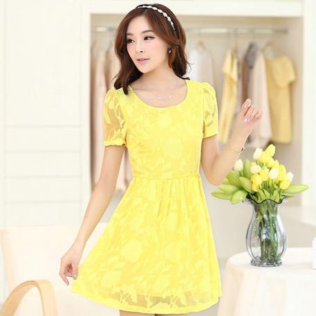 ชุดเดรสลูกไม้สีเหลือง คอกลม แขนสั้น แนวเกาหลี สวยหวาน น่ารักๆ