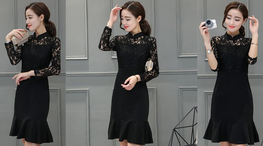 ชุดเดรสสั้นสีดำ ทรงเข้ารูป คอจีน ไหล่แต่งลูกไม้ แขนยาว ( สินค้าพร้อมส่ง S,XL )