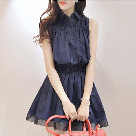 ชุดเดรสสั้นสีกรมท่า คอปก แขนเอว ยืดจั๊ม แนวน่ารักๆ สดใส่สไตล์สาวเกาหลี