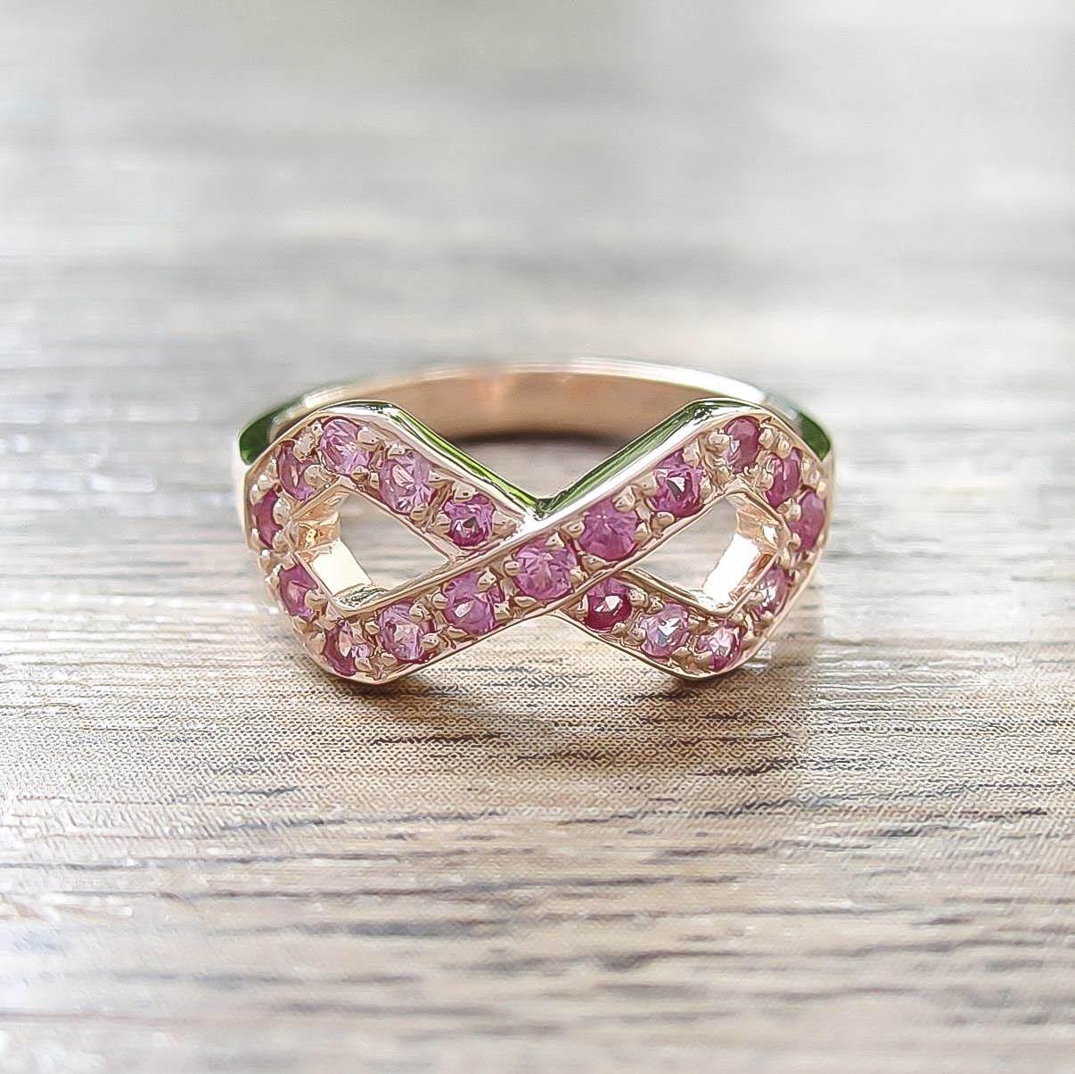 แหวน Pink Sapphire Sterling Silver สี Rose Gold รุ่น Infinite