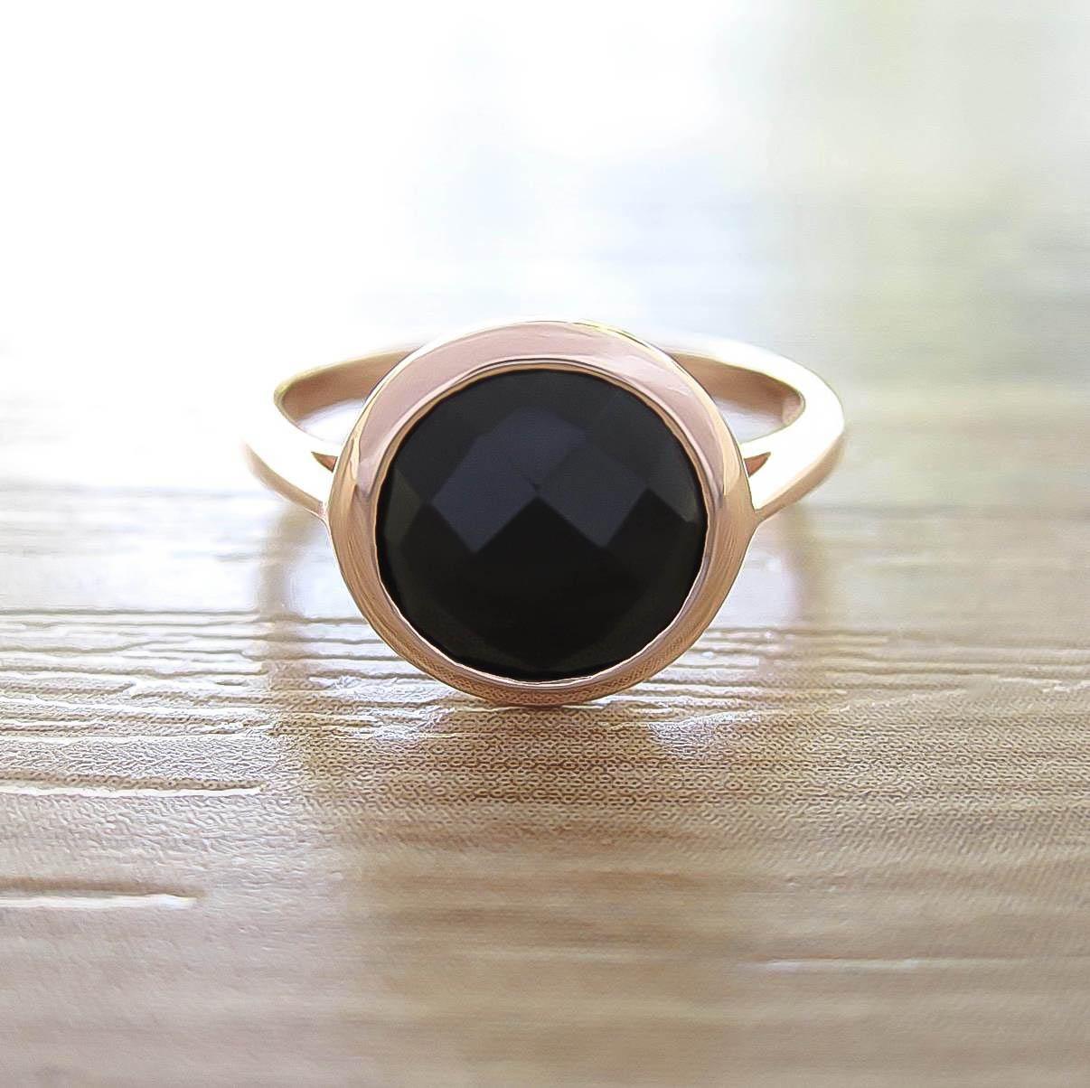 แหวน Black Onyx Sterling Silver สี Rose Gold รุ่น Dashing