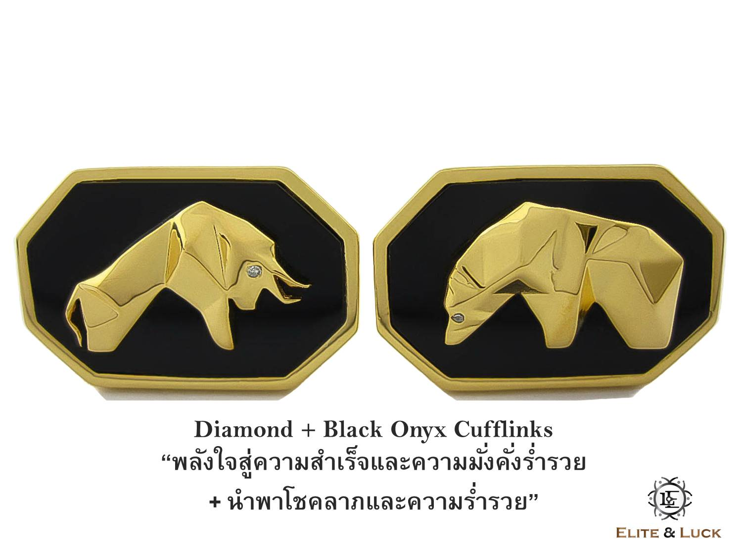 Diamond + Black Onyx Sterling Silver Cufflinks สี 18K Yellow Gold รุ่น Bull & Bear