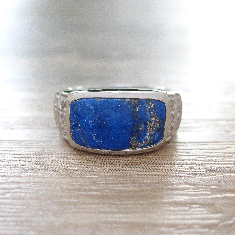 แหวน Lapis Lazuli + White Topaz Sterling Silver สี Rhodium รุ่น Noble