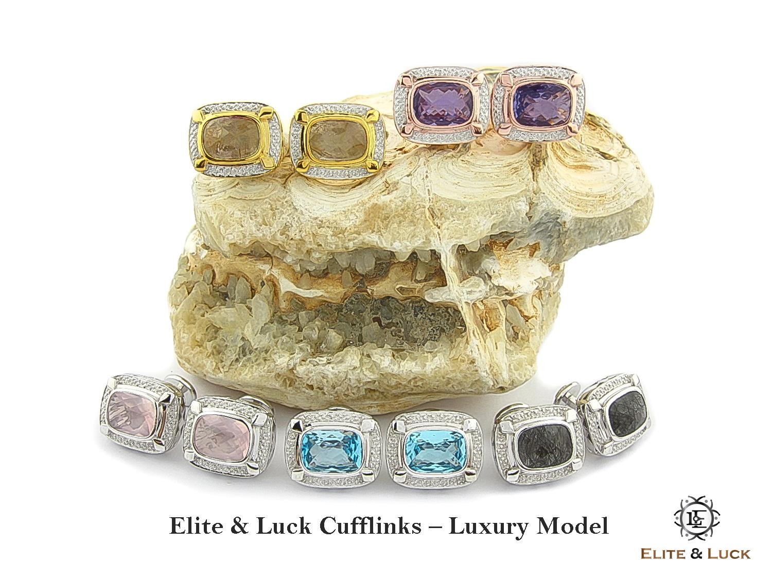 Elite & Luck Gemstone Cufflinks for Men, Luxury Model