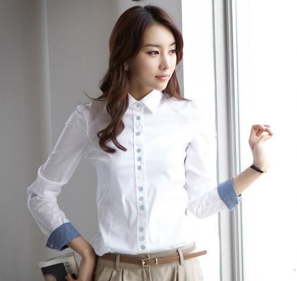 เสื้อเชิ้ตทำงานสีขาว แขนยาว คอปก เอวเข้ารูป สวยหรู