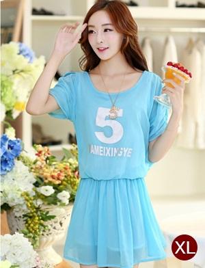 ชุดเดรสสั้นน่ารักๆ สีฟ้า ผ้าชีฟอง สกรีนตัวเลข คอกลม ขนาดไซส์ XL