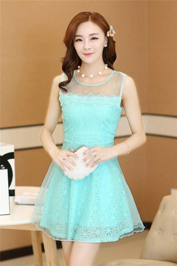 ชุดเดรสสั้นแฟชั่นเกาหลี ชุดไปงานแต่งงาน ชุดเดรสสีฟ้า ชุดลูกไม้สีฟ้า ผ้าลูกไม้ดานใน ด้านนอกผ้าใยแก้วบางๆ มีซับในทั้งตัว ซิปหลัง