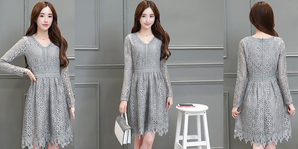 ชุดเดรสลูกไม้สีเทา ทรงสวย คอวี แขนยาว แฟชั่นชุดเดรสเรียบหรู สวยหวาน สไตล์เกาหลี
