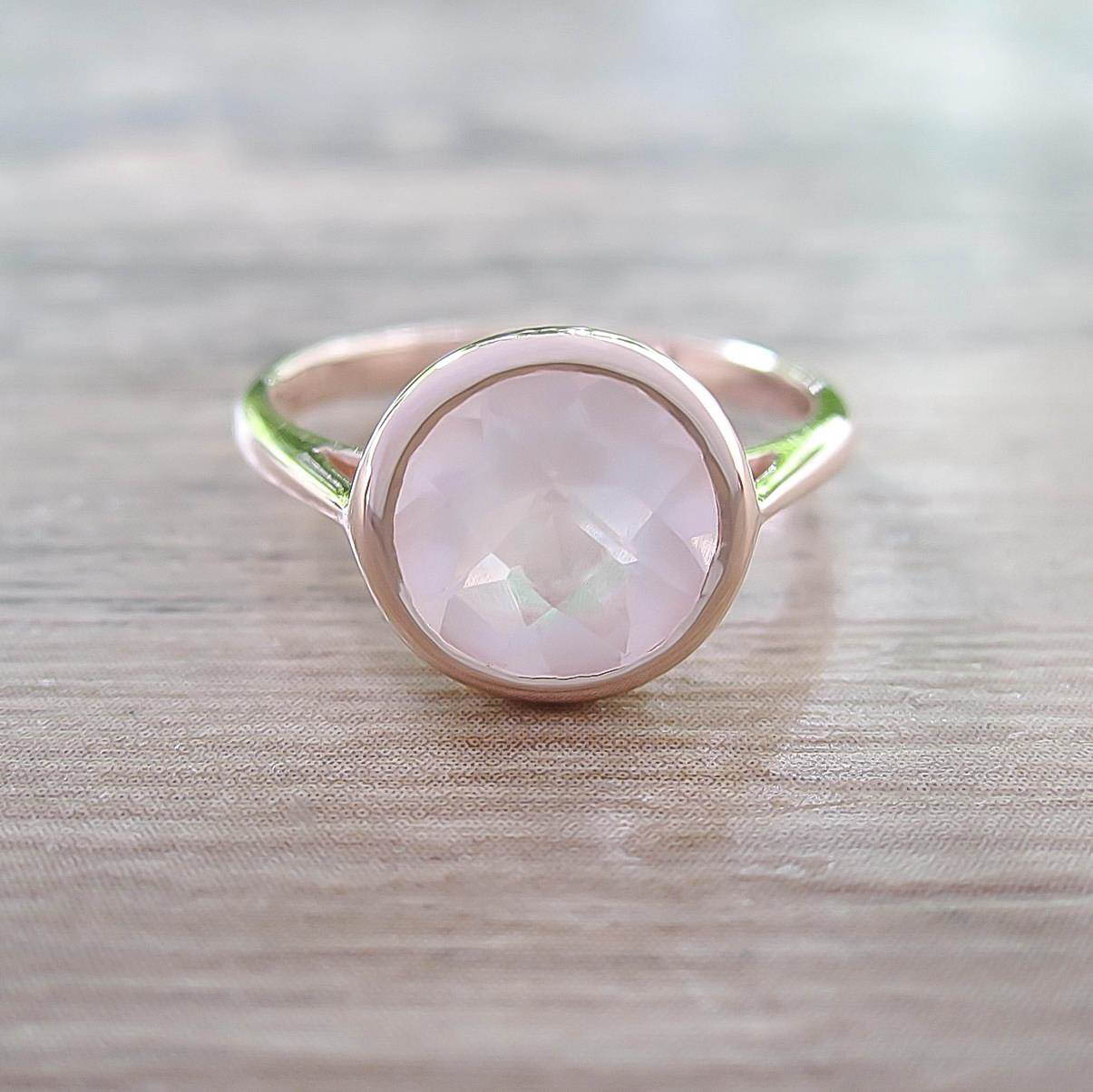 แหวน Rose Quartz Sterling Silver สี Rose Gold รุ่น Dashing