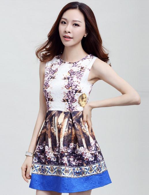 ชุดเดรสสวยๆราคาถูก ชุดเดรสทำงานแฟชั่นสไตล์เกาหลีสวยๆ ชุดแซกกระโปรงใส่ทำงาน พิมพ์ลายเก๋ๆสวยๆ ผ้าคอลตอลอัดลายดอกไม้ ซิปหลัง