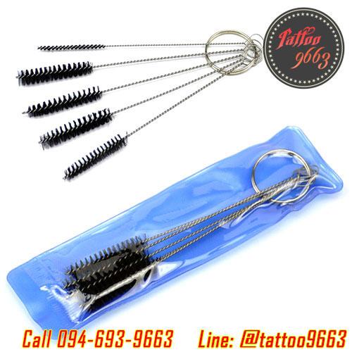 ชุดแปรงทำความสะอาดปลายกระบอกเข็มสัก แปรงล้างปลายกระบอกเข็ม อุปกรณ์ทำความสะอาด Tattoo Needle Mouth Spray Gun Airbrush Cleaning Brush Set (5PC)