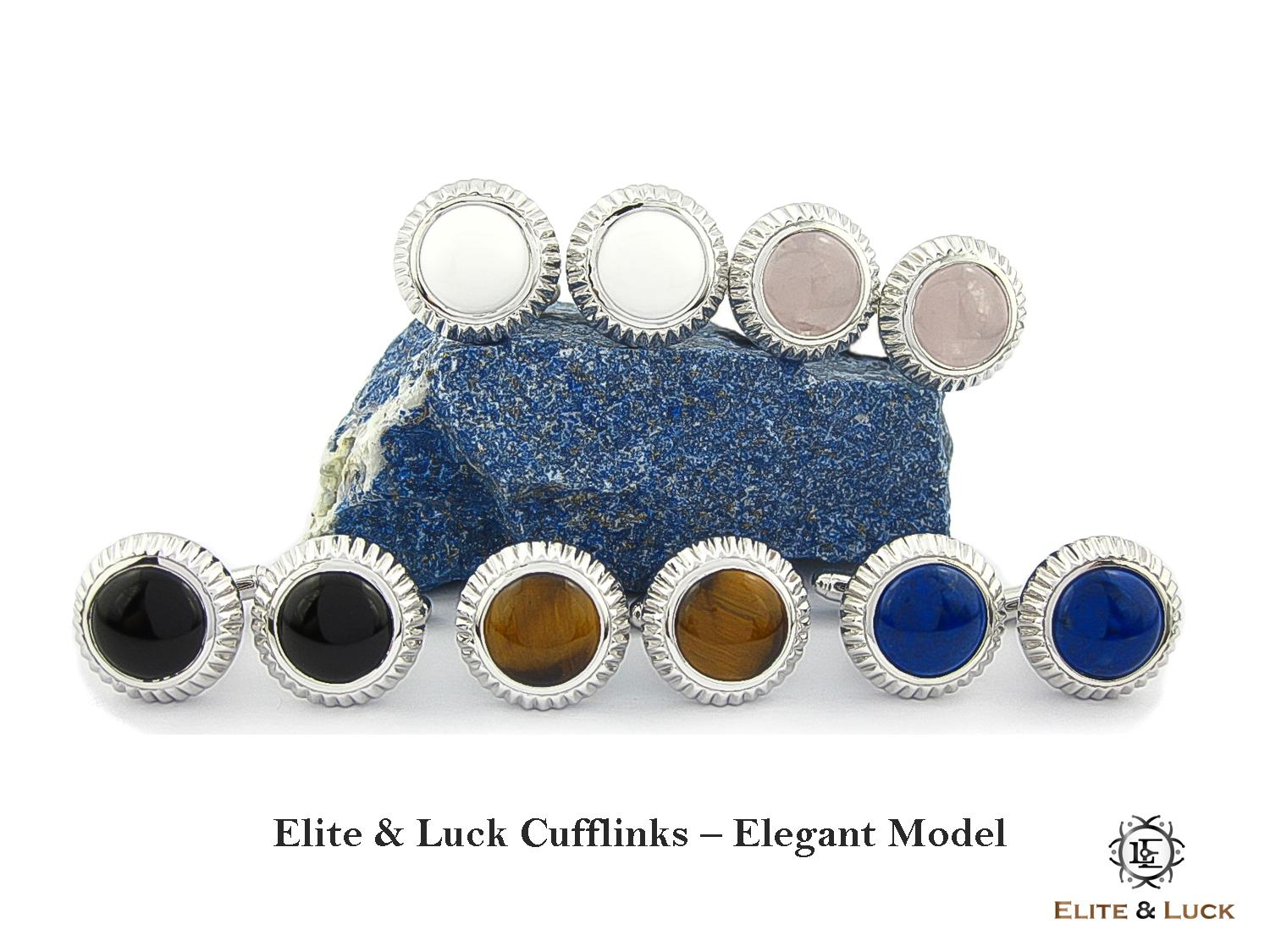 Elite & Luck Gemstone Cufflinks for Men, Elegant Model