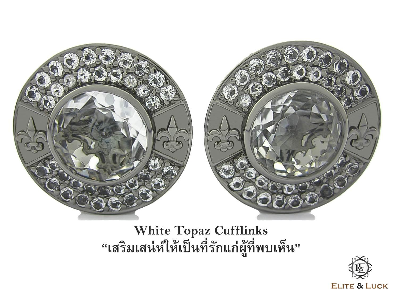White Topaz Sterling Silver Cufflinks สี Black Rhodium รุ่น Royal