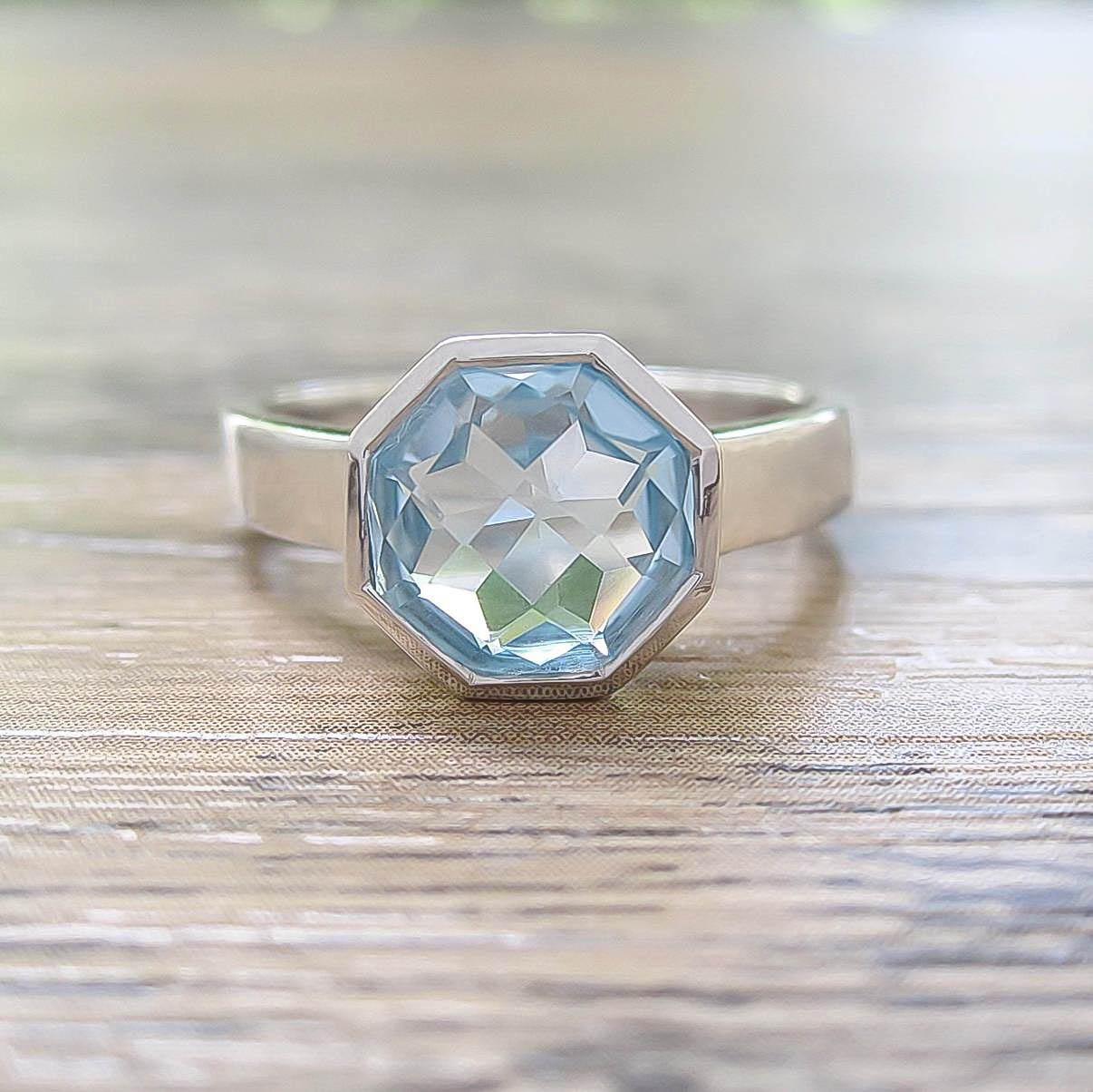 แหวน Blue Topaz Sterling Silver สี Rhodium รุ่น Glamorous