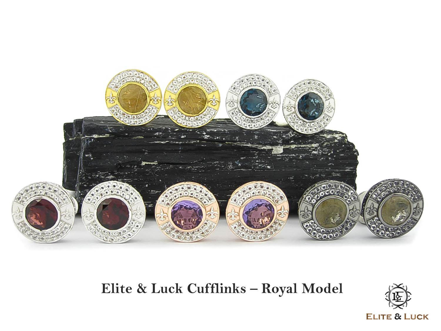 Elite & Luck Gemstone Cufflinks for Men, Royal Model