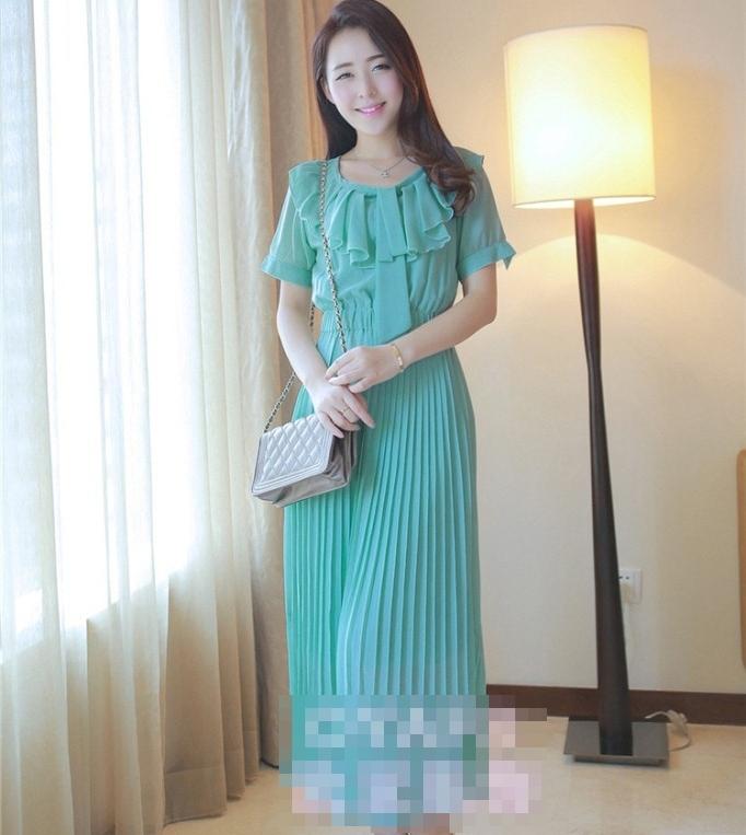 ชุดเดรสยาวแฟชั่นเกาหลี สีเขียว ผ้าชีฟอง เสื้อแต่งระบายน่ารักๆ แขนสั้น กระโปรงพลีท เป็นชุดเดรสสวยหวาน น่ารัก ดูเรียบร้อย สามารถใส่ออกงาน ไปงานแต่งงานได้ (S M L) สำเนา