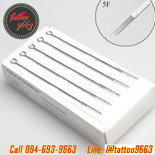 [5F] เข็มสักลาย เข็มลงเงา เข็มแบน เข็มสักสำเร็จรูป เข็มสักเบอร์5 เข็มสักฆ่าเชื้อพร้อมใช้งาน (แพ็ค 50 ชิ้น - Flat Tattoo Needles)
