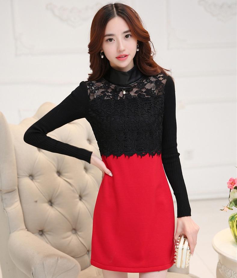 ชุดเดรสสั้นสีดำ แดง เสื้อผ้าลูกไม้แขนยาว คอเต๋า เย็บต่อด้วยทรงเอเข้ารูปสีแดง แนวแฟชั่นเกาหลีสวยๆ น่ารักๆ ดูดี ใส่เที่ยว ใส่ออกงาน ใส่ทำงาน