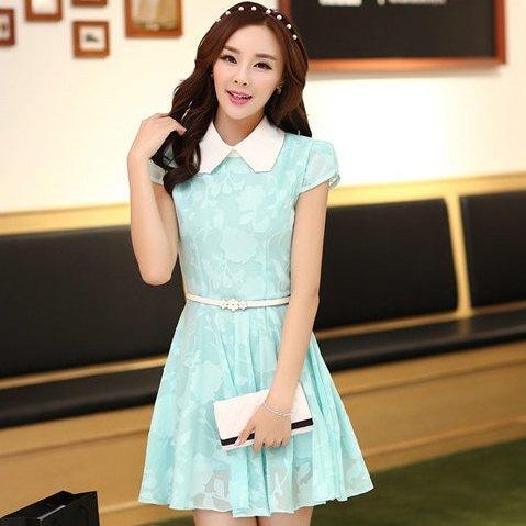 ชุดเดรสทำงานแฟชั่นเกาหลี ชุดเดรสทำงานสวย ๆ ชุดเดรสลูกไม้ ผ้าลูกไม้ คอปก แขนสั้น ( S,M,L,XL )