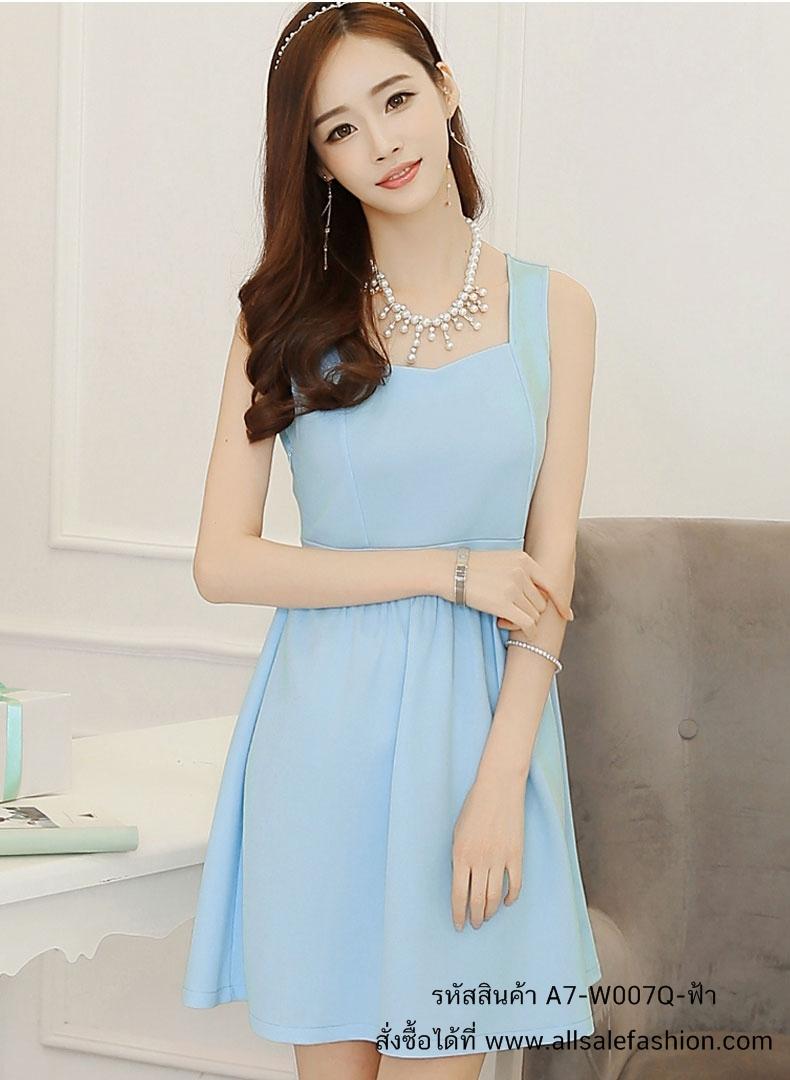 ชุดเดรสสั้นสีฟ้า คอกว้าง แขนกุด กระโปรงทรงบาน แนวน่ารัก สวยๆ แฟชั่นสไตล์เกาหลี