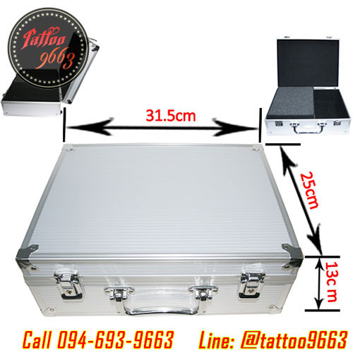 [SILVER] กระเป๋าใส่อุปกรณ์สักลายสีเงิน กระเป๋าอุปกรณ์สักลาย กระเป๋าเก็บอุปกรณ์สักลาย Professional Aluminum Tattoo Kit Case Traveling Convention Carry