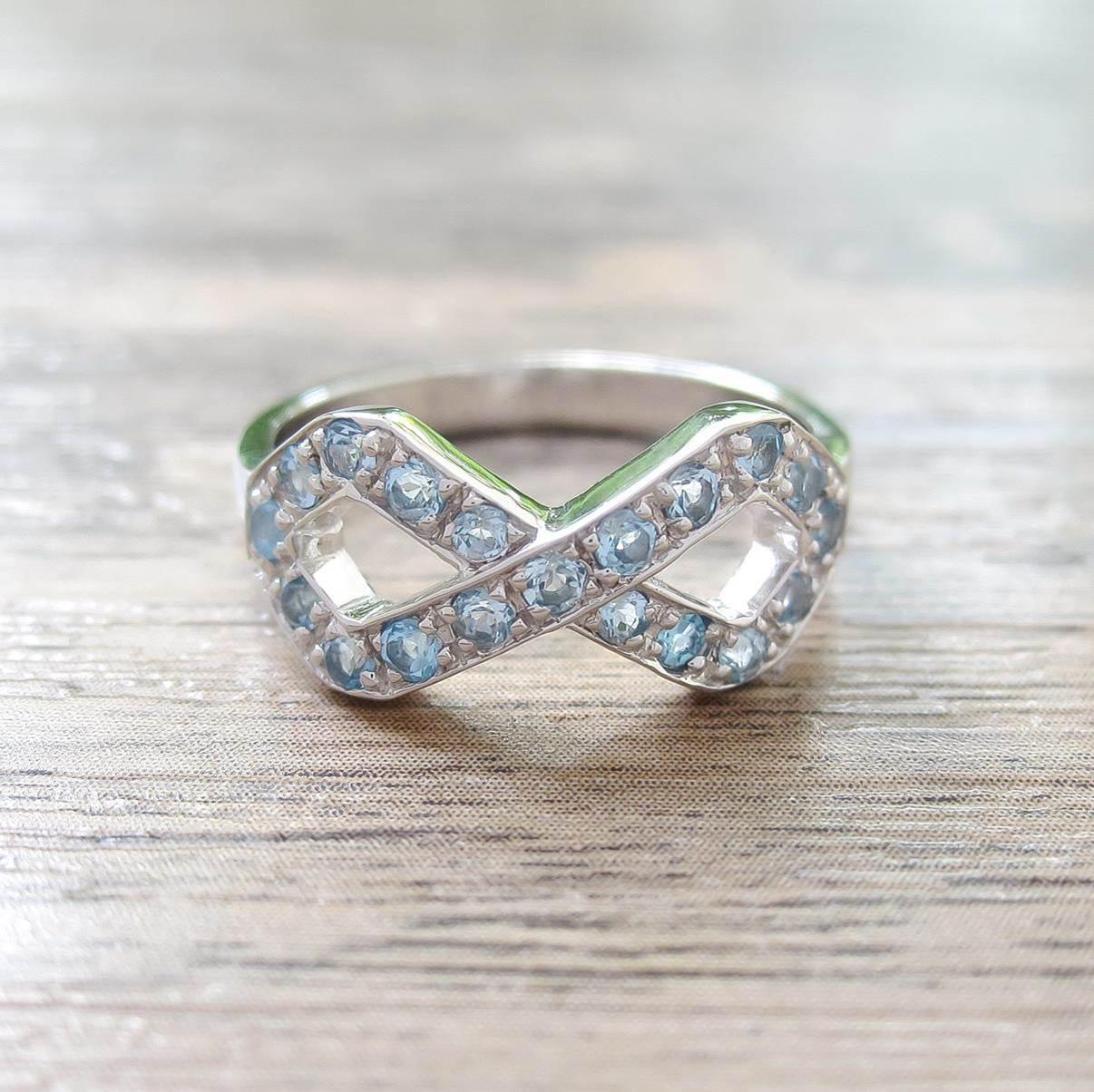 แหวน Swiss Blue Topaz Sterling Silver สี Rhodium รุ่น Infinite