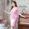 ชุดออกงาน ชุดไปงานแต่งงานสีชมพู เซตเสื้อลูกไม้แขนสั้นเอวระบาย น่ารัก