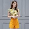 ชุดเซ็ท2ชิ้นเข้าชุดโทนสีเหลือง เสื้อแขนกุดพิมพ์ลายสวยๆ+กางเกงขาสั้น น่ารัก