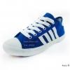 [พร้อมส่ง] รองเท้าผ้าใบแฟชั่น รุ่น 4 แถบ สีน้ำเงิน