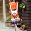 ชุดเดรสยาวสีส้ม กระโปรงพิมพ์ลายดอกไม้ ผ้าชีอง เสื้อแขนสั้น คอกลม แนวหวาน
