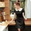 ชุดเดรสทำงานสีดำ แขนสั้น ผ้าโพลีเอสเตอร์ คอปกสีขาว เอวเข้ารูป ลุคสาวออฟฟิศน่ารักๆ
