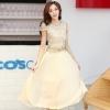 ชุดเดรสยาวสวยๆ สีครีมเบจ เสื้อผ้าลูกไม้อย่างดีเย็บต่อด้วยกระโปรงผ้าชีฟอง ใส่ไปงานแต่งงาน ออกงานเลี้ยง ให้ลุคสวยหรู ดูดี ( S M L XL )