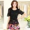 ชุดเดรสสั้นลายดอกไม้ เสื้อผ้าลูกไม้สีดำ เย็บต่อด้วยกระโปรงสั้นลายดอกไม้สีชมพู เป็นชุดเดรสแฟชั่นน่ารักๆ สไตล์เกาหลี ( S,M,L,XL,)