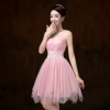 ชุดราตรีสั้น ชุดเพื่อนเจ้าสาว ชุดไปงานแต่งงาน สีชมพู น่ารัก