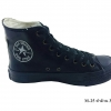 [พร้อมส่ง] รองเท้าผ้าใบแฟชั่น (หุ้มข้อ) รุ่น M-25 สีดำล้วน แบบหนัง