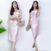 ชุดออกงาน ชุดไปงานแต่งงานสีชมพู เดรสเกาะอก น่ารัก