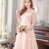 ชุดเดรสสวยหรูสีโอรส ออกงาน ไปงานแต่งงาน เปิดไหล่ น่ารัก