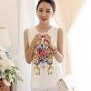 เสื้อแฟชั่นเกาหลี สีขาว ผ้าชีฟอง คอกลม น่ารัก