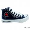 [พร้อมส่ง] รองเท้าผ้าใบเด็กแฟชั่น รุ่น 444 สีดำ (หุ้มข้อ)
