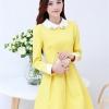 ชุดทำงานแฟชั่นเกาหลี ชุดทำงานออฟฟิศสวยๆ มินิเดรส กระโปรงสั้น คอปก แขนยาว สีเหลือง ( S,M,L,XL )