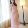 ชุดเดรสยาวแฟชั่นเกาหลี สีชมพู ผ้าชีฟอง เสื้อแต่งระบายน่ารักๆ แขนสั้น กระโปรงพลีท เป็นชุดเดรสสวยหวาน น่ารัก ดูเรียบร้อย สามารถใส่ออกงาน ไปงานแต่งงานได้ (S M L)