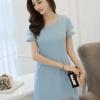ชุดเดรสสั้นสีฟ้า สีพื้น คอกลม แขนสั้น ทรงสอบ ตัดขอบด้วยผ้าไหมแก้ว แนวเกาหลีสวยๆ น่ารักๆ
