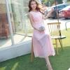 ชุดเดรสยาวสีชมพู แขนกุด คอวี ผ้าชีฟอง เอวยืด มีซับใน เรียบหรู