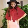 เสื้อคลุมสีแดง ปีกผีเสื้อ แต่งโบว์ ตัวสั้น ผ้าสักหลาด
