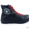 [พร้อมส่ง] รองเท้าผ้าใบแฟชั่น (หุ้มข้อ) รุ่น 3K สีดำล้วน แบบหนัง