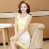 ชุดทำงานแฟชั่นเกาหลี มินิเดรสสวยๆ เดรสสั้นแขนกุด กระโปรงผ้าแก้ว สีเหลือง ( S M L XL )