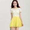 ชุดเดรสสั้นสีเหลือง ขาว ผ้าลูกไม้ แขนสั้น กระโปรงสั้นพริ้วๆ สวยหวานน่ารักๆ สไตล์แฟชั่นเกาหลี