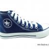 [พร้อมส่ง] รองเท้าผ้าใบเด็กแฟชั่น รุ่น 444 สียีนส์กรม (หุ้มข้อ)