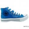 [พร้อมส่ง] รองเท้าผ้าใบเด็กแฟชั่น รุ่น 444 สีฟ้า (หุ้มข้อ)