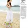 ชุดเดรสยาวสีขาว พิมพ์ลายดอกไม้สีเขียว ผ้าชีฟอง แขนกุด คอกลม ใส่ไปเที่ยวทะเล